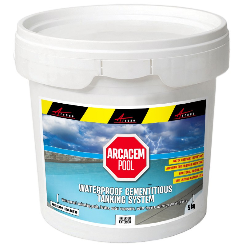 ARCACEM POOL- Cementitious waterproofing product for pools, tanks, water reservoirs, terraces, basins, vats