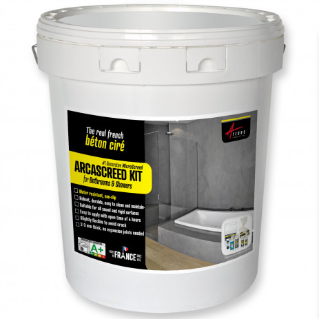 Microcement for bathroom and showers, decorative micro concrete - ARCASCREED KIT Beton Cire for bathroom
